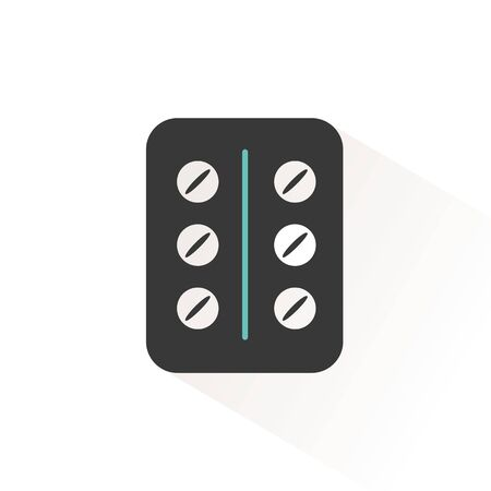 Pack of pills. Flat color icon with beige shade. Pharmacy and medicine vector illustration