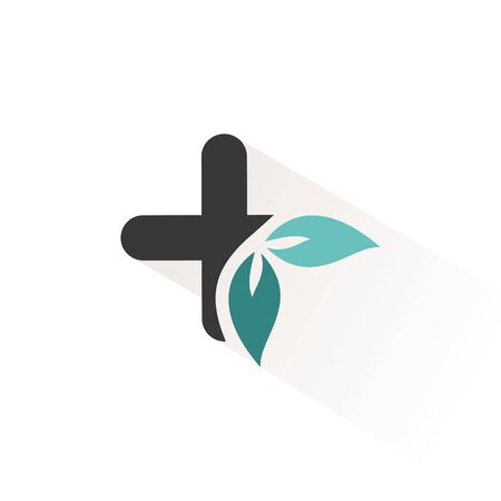 Pharmacy cross with leaves. Flat color icon with beige shade. Vector illustration