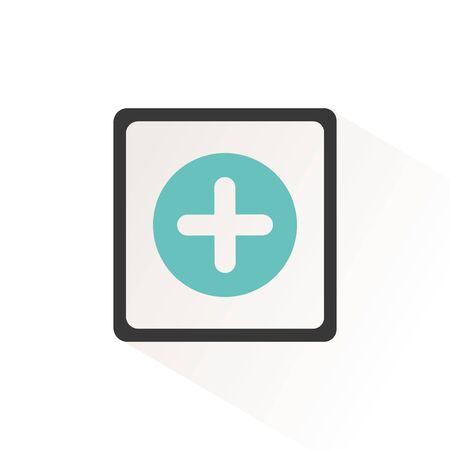 Pharmacy sign. Flat color cross icon with beige shade. Vector illustration