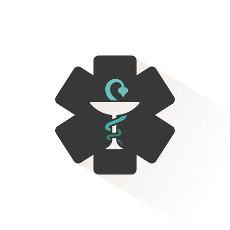 Pharmacy symbol. Flat color icon with beige shade. Vector illustration