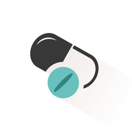 Pills. Flat color icon with beige shade. Pharmacy and medicine vector illustration
