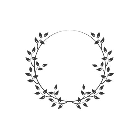 Vintage floral round frames. Black decorative circular ivy wreath. Vector illustration