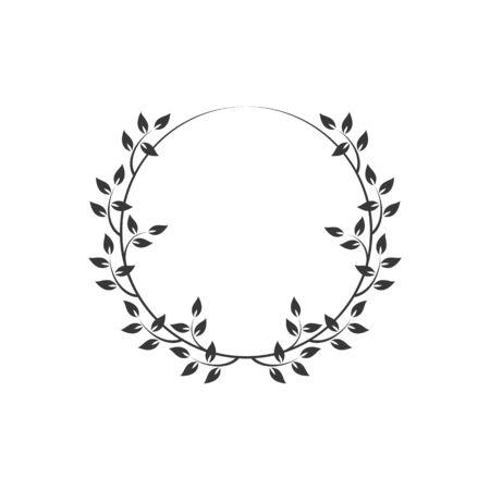 Vintage floral runde Rahmen. Schwarzer dekorativer runder Efeukranz. Vektor-Illustration Vektorgrafik