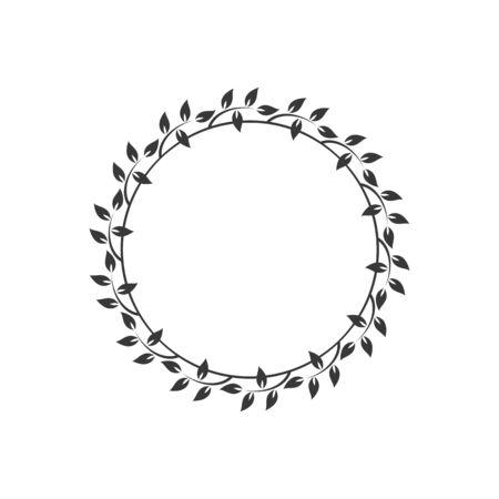 Vintage floral round frames. Black decorative circular ivy wreath. Vector illustration