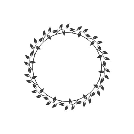Vintage kwiatowy okrągłe ramki. Czarny ozdobny okrągły wieniec z bluszczu. Ilustracja wektorowa