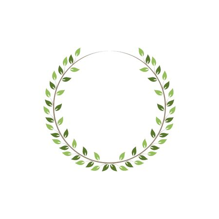 Vintage floral round frames. Green decorative circular ivy wreath. Vector illustration