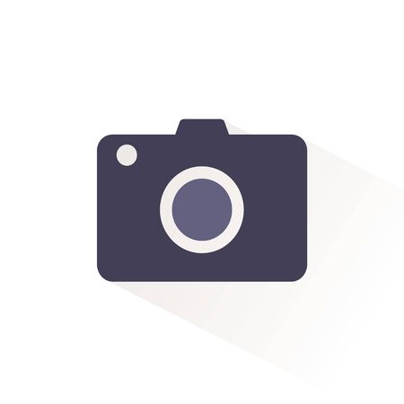 Camera color icon with shadow. Flat vector illustration