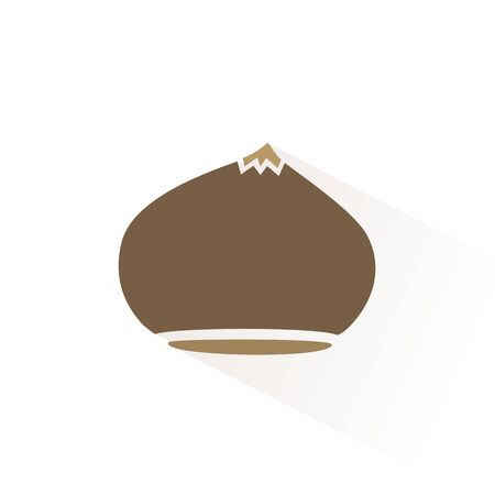 Chestnut color icon with shadow. Flat vector illustration