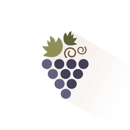 Bunch of grapes color icon with shadow. Flat vector illustration