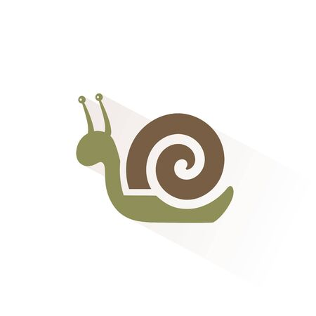Snail color icon with shadow. Flat vector illustration  イラスト・ベクター素材