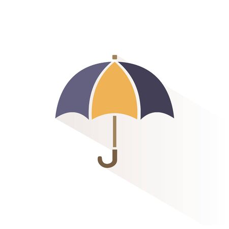Umbrella color icon with shadow. Flat vector illustration