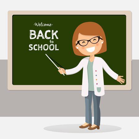 Back to school teacher vector illustration. Education cartoon