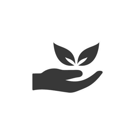Hand and leaves. Isolated flat icon. Ecology, pharmacy and nature vector illustration 일러스트