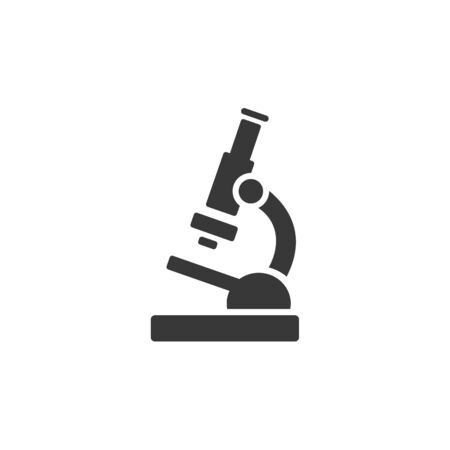 Microscope. Flat icon. Isolated pharmacy and science vector illustration