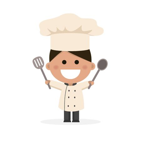 Isolated boy dressed as a chef. Flat vector illustration