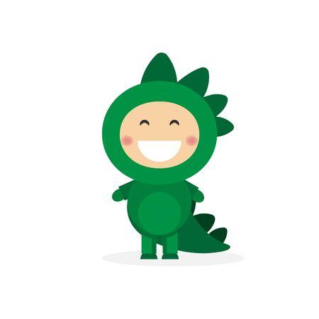 Isolated boy dressed as a dinosaur. Vector illustration