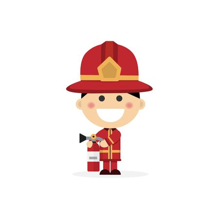 Isolated boy dressed as a fireman. Vector illustration