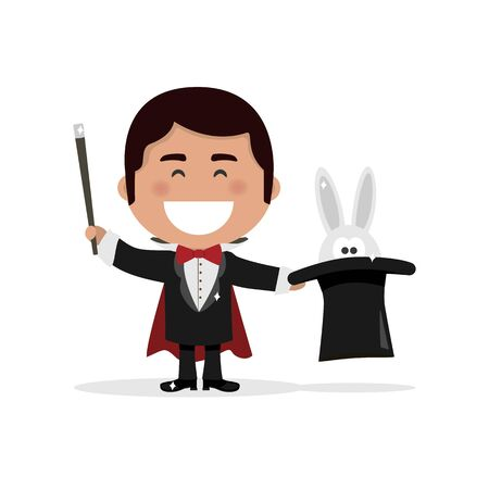 Isolated boy dressed as a magician illusionist. Flat vector illustration