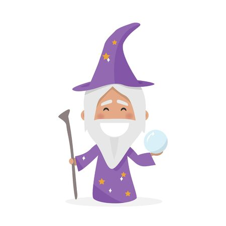 Isolated boy dressed as a wizard. Flat vector illustration