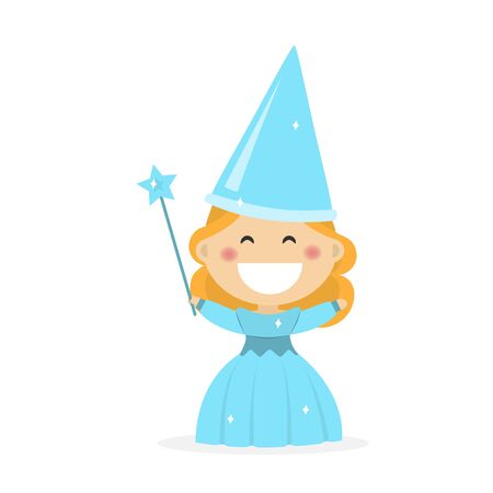 Isolated girl dressed as a fairy godmother. Flat vector illustration