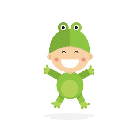 Isolated boy dressed as a frog. Vector illustration Ilustrace
