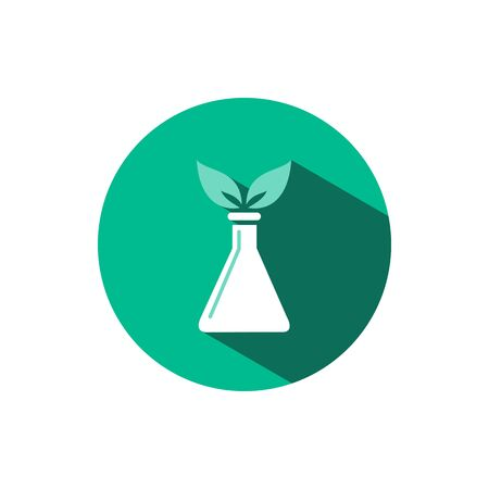 Conical flask icon with two leaves and shadow on a green circle. Flat color vector pharmacy illustration