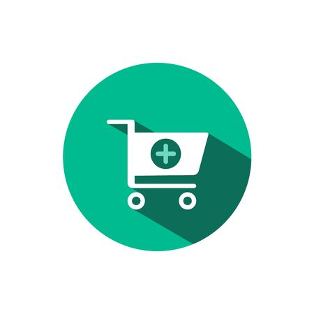 Shopping pharmacy cart icon with shadow on a green circle. Flat color vector pharmacy illustration