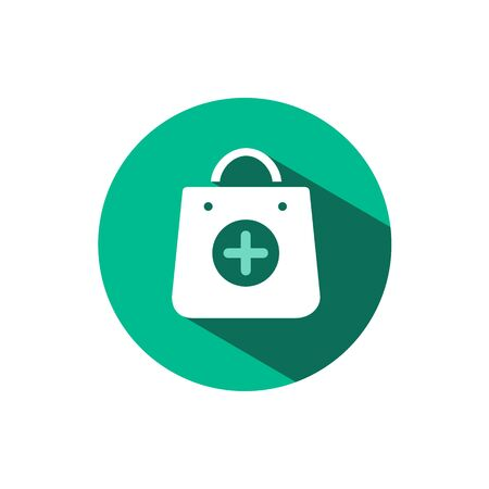Shopping pharmacy bag icon with shadow on a green circle. Flat color vector pharmacy illustration Stock Illustratie