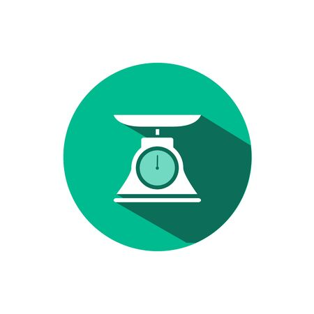 Commercial weight scale icon with shadow on a green circle. Flat color vector pharmacy illustration