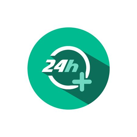 24 hours pharmacy service icon with shadow on a green circle. Flat color vector pharmacy illustration