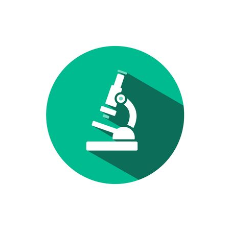 Microscope icon with shadow on a green circle. Flat color vector pharmacy illustration Çizim