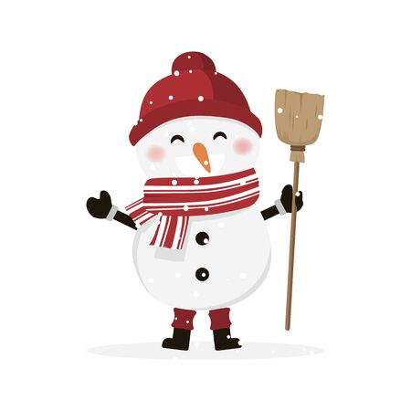 Isolated boy dressed as a snowman. Christmas vector illustration