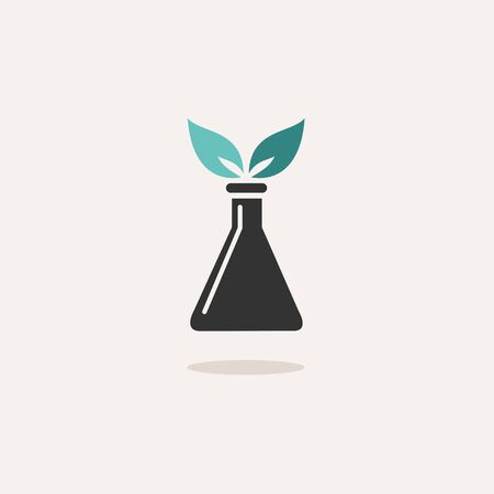 Conical flask with plant. Icon with shadow on a beige background. Chemistry flat vector illustration