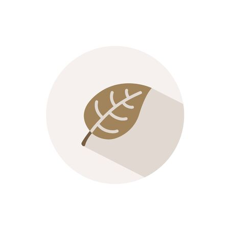 Leaf. Icon with shadow on a beige circle. Fall flat vector illustration Ilustracja