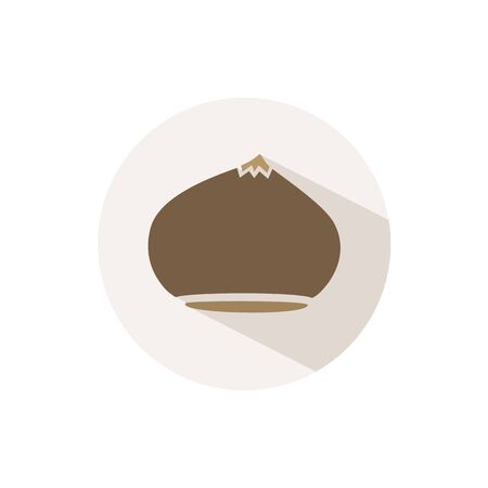 Chesnut. Icon with shadow on a beige circle. Fall flat vector illustration