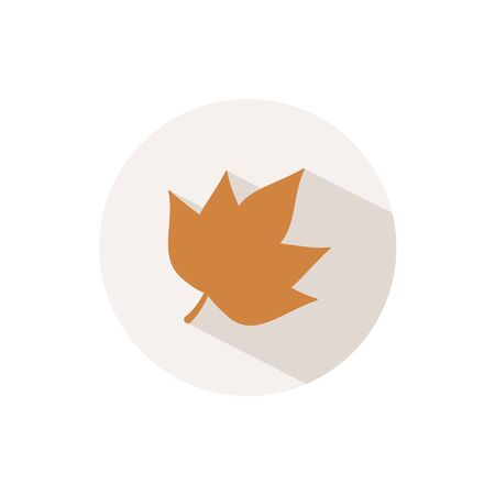Autumn leaf. Icon with shadow on a beige circle. Fall flat vector illustration