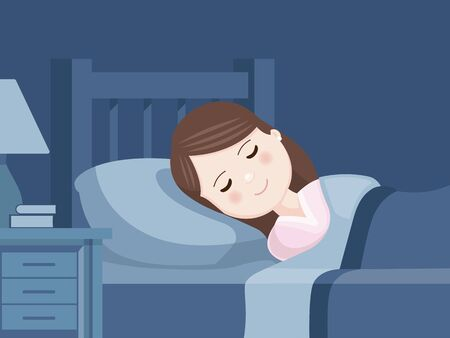 Cute girl sleeping in bed. Bedroom at night. Sweet dreams. Vector illustration