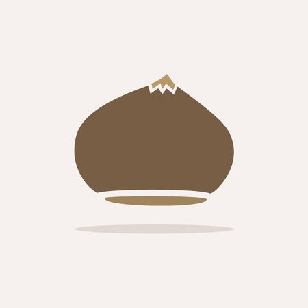 Chestnut. Icon with shadow on a beige background. Autumn flat vector illustration Ilustrace