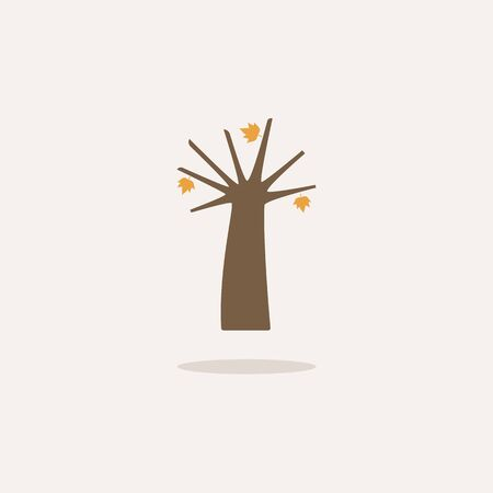 Autumn tree. Icon with shadow on a beige background. Season flat vector illustration Ilustrace