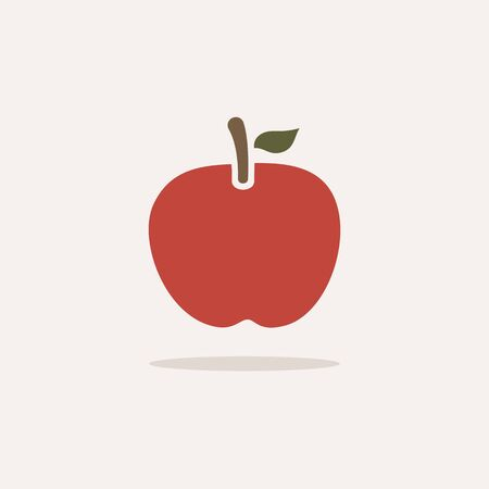 Red apple. Icon with shadow on a beige background. Fruit flat vector illustration Stock fotó - 138231505