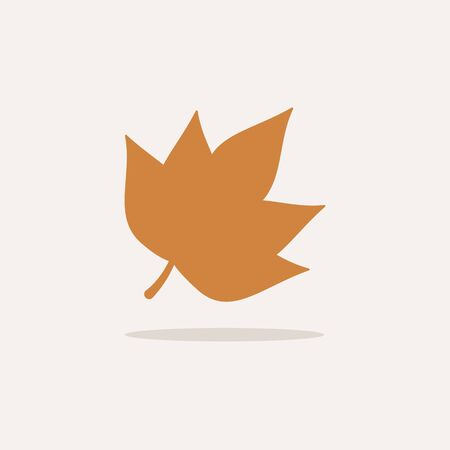 Leaf. Icon with shadow on a beige background. Autumn flat vector illustration Foto de archivo - 138230995