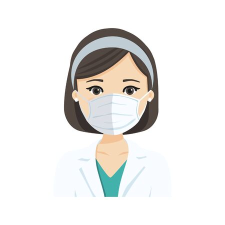 Young female doctor wearing the n95 respiratory protection mask, against infectives diseases. Flat vector illustration