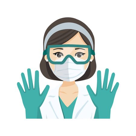 Young female doctor wearing the n95 respiratory protection mask, glasses and gloves, against infectives diseases. Flat vector illustration