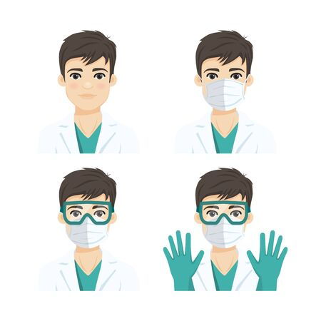 Young male doctor wearing the n95 respiratory protection mask, glasses and gloves, against infectives diseases. Flat vector illustration