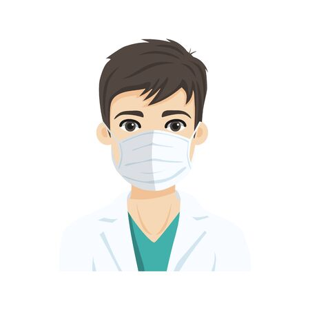 Young male doctor wearing the n95 respiratory protection mask, against infectives diseases. Flat vector illustration