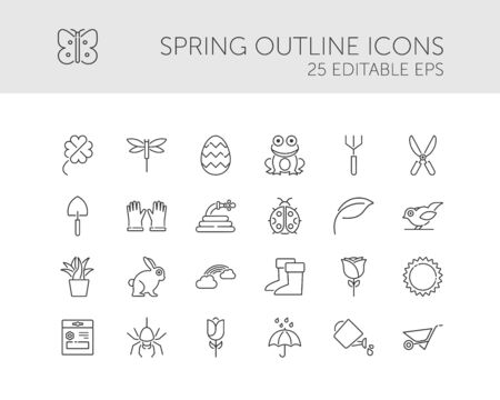Spring and gardening. Isolated icon set. Outline  illustration