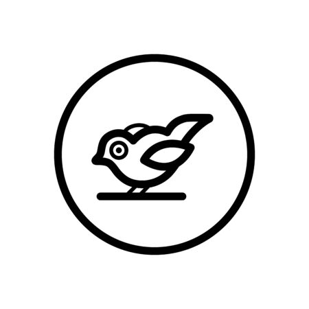 Little bird. Outline icon in a circle. Isolated animal vector illustration Illustration