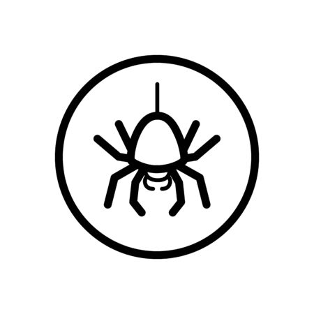 Spider. Outline icon in a circle. Isolated animal vector illustration Illustration
