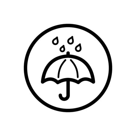 Umbrella and rain. Outline icon in a circle. Isolated weather  illustration