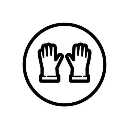 Gardening gloves. Outline icon in a circle. Isolated clothes vector illustration